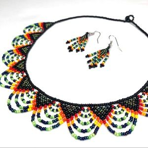 Colombian Boho UNIQUE Handmade Black Necklace